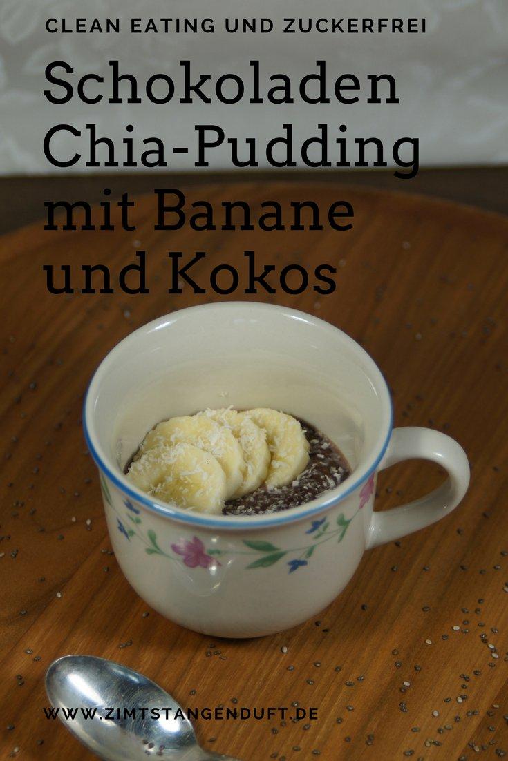Schokoladen Chia-Pudding mit Banane und Kokos
